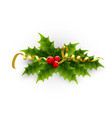 a holly berries and tinsel on a vector image