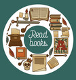 ancient library shop or store read books vector image vector image