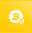 approved bitcoin payment icon vector image vector image