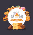 bakery banner template pastry shop menu cover vector image