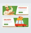 banner with italian pizzaiolo and delivery service vector image vector image