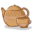 beige teapot with cup on white background vector image vector image