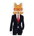 brutal fox in elegant classic suit Hand drawn vector image vector image