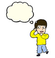 cartoon frightened boy with thought bubble vector image vector image
