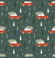 christmas time seamless pattern with car vector image