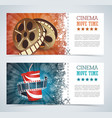 cinema tickets with popcorn bowl and film strip vector image