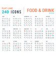 collection linear icons food and drinks vector image