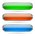 colored glass 3d buttons with chrome frame oval vector image vector image