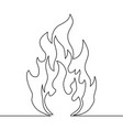 continuous line fire one line drawing fire vector image vector image