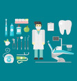 Flat health care dentist symbols research medical