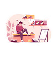 flat young man trying measure sneakers in store vector image vector image