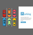free car parking lot with different car top view vector image vector image