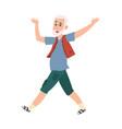 funny happy senior man cartoon dancing pensioner vector image vector image