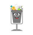 garbage can with waste trash vector image vector image