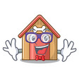 geek cartoon dog house and bone isolated vector image vector image