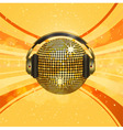 gold disco ball with headphones on an orange backg vector image vector image