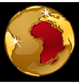 Golden globe with marked of Africa countries vector image