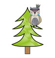 grated ethnic owl animal in pine tree vector image vector image