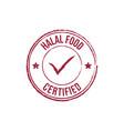 halal certified grunge round vintage rubber stamp vector image vector image