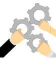 hands with gears vector image