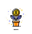 icon of growing money tree with dollar coin vector image