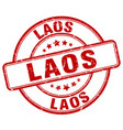 Laos red grunge round vintage rubber stamp