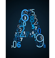 Letter A font from numbers vector image vector image