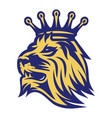 lion head with crown color vector image vector image