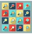 Magnifier flat icon set vector image