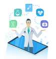 medical program with doctor in smartphone vector image vector image