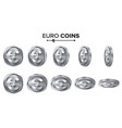 money euro 3d silver coins set realistic vector image