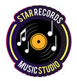 neon star records music studio vinyl disc record b vector image vector image