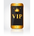 New Realistic Gold Mobile Phone With Black Screen vector image vector image