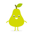 pear cute fruit character vector image vector image
