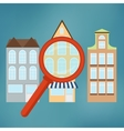 Real-estate concept with magnifying glass vector image