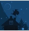santa claus on the roof vector image vector image