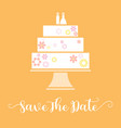 save the date with wedding cake vector image