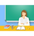 School teacher woman at the desk flat education vector image vector image