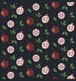 seamless pattern with cartoon pomegranates seeds vector image
