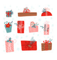 set 10 christmas gifts decorated with plants vector image vector image