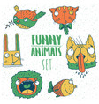 set of cartoon animal emblems vector image