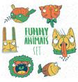 set of cartoon animal emblems vector image vector image