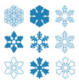 Set of Nine Snowflakes thin line ftat design vector image vector image