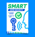 smart home security creative promo banner vector image vector image