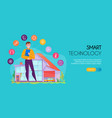 smart house horizontal banner vector image vector image