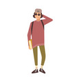 smiling stylish teenage boy wearing cap and vector image vector image