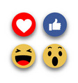 social media face reaction emojis flat icons vector image