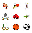 sport gym icons set cartoon style vector image vector image