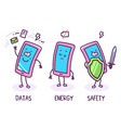 three mood of character phone on white background vector image vector image
