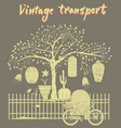 vintage transport hand drawn vector image vector image